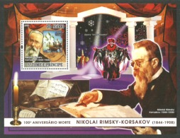 ST THOMAS AND PRINCE 2008 MUSIC RIMSKY KORSAKOV COMPOSER OPERA M/SHEET MNH - Sao Tome And Principe