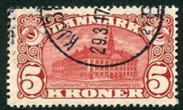 DENMARK 1912 Head Post Office 5 Kr. Crown Watermark, Used.  Michel 66 - 1905-12 (Frederik VIII)