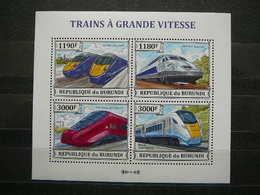 Trains Züge Vapeurs # Burundi 2013 MNH S/s # - Treinen