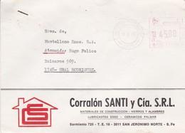 CORRALON SANTI Y CIA SRL. ENVELOPE CIRCULEE STA FE TO GRAL RODRIGUEZ. FRANQUEO MECANICO 1985-ARGENTINE-BLEUP - Argentina