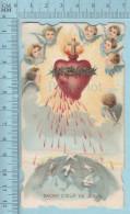 Religion, Die Cut  - Sacré Coeur  Seignant Sur Des Colombes, FF St Hyacinthe Quebec - Holy Card, Image Pieuse, Santini - Images Religieuses