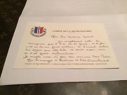 Carte De Visite Comité De La Seyne-sur-Mer Le Souvenir Français Mon Cher Secrétaire Général J'ai Complètement Oublié Les - Cartes De Visite