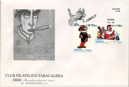 1995 , SOBRE DE PRIMER DIA , SERIE FUMADORES FAMOSOS , CINE - BUSTER KEATON , ED. 3359 / 3360 - FDC