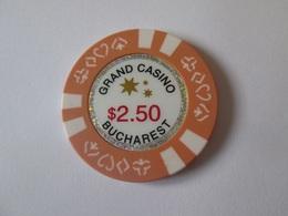 $2.5 Romanian Token Grand Casino Bucharest/Roumanie Jeton De Casino 2.5$ Grand Casino Bucuresti.Diameter/diametre=39 Mm - Casino