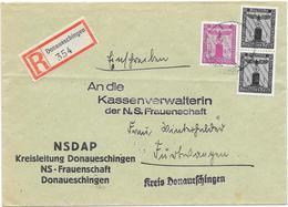 DR Dienst Reco Brief Der NSDAP Kreisleitung Donaueschingen NS Frauenschaft Mif. MI.144,154 - Germany