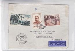 ENVELOPE CIRCULEE PAR AVION MADAGASCAR TO CANADA. OBLITERE MAJUNGA 1958-BLEUP - Madagascar (1889-1960)