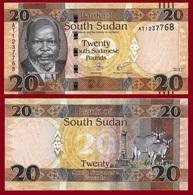 South Sudan P13c?, 20 Pounds, Dr. John Garang De Mabior / Antelope 2011 UNC - Soudan Du Sud