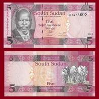 South Sudan P6, 5 Pounds, Dr. John Garang De Mabior / Longhorn Cattle 2011 UNC - Soudan Du Sud