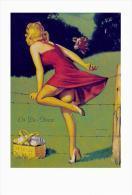 Pin Ups Of GIL ELVGREN Postcard RPPC - (61) On De-Fence, 1940s - Size 15x10 Cm.aprox. - Pin-Ups