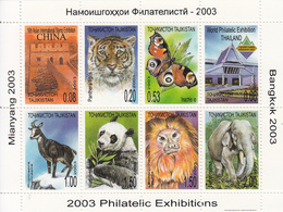2003 Tajikistan Fauna Tiger Cat Panda Butterfly Miniature Sheet Of 8 MNH - Tadjikistan