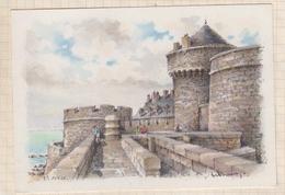 8AK3013 SAINT MALO LA TOUR QUI QU'EN GROGNE ET LE PETIT DONJON Dessin BARRE DAYEZ  2 SCANS - Saint Malo