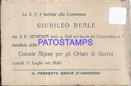 100315 ROYALTY INVITED TO THE CONFERENCE THE ROYAL JUBILEE ALPINE COLONIES FOR THE WAR'S ORPHANS NO POSTAL POSTCARD - Familles Royales