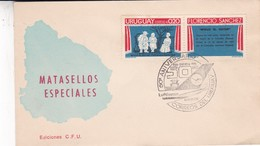 50 ANIVERSARIO LUFTHANSA. STAMP FLORENCIO SANCHES A PAIR. OBLITERE MONTEVIDEO 1976. URUGUAY, SPECIAL COVER -BLEUP - Uruguay