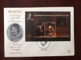 Malta Caravaggio 2010 FDC CASTILLE SQR -VALLETTA With Cancellation Very Rare VF - Malta