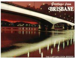 (888) Australia - (With Stamp At Back Of Card) QLD - Brisbane Captain Cook Bridge At Night - Brisbane