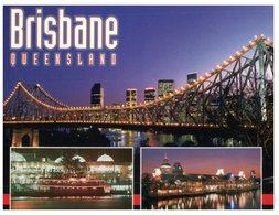 (888) Australia - (With Stamp At Back Of Card) QLD - Brisbane Story Bridge At Night - Brisbane