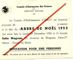 AIR FRANCE - Comité D'Établissement D'ORLY - Invitation Arbre De NOËL 1952 - Aviazione