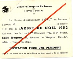 AIR FRANCE - Comité D'Établissement D'ORLY - Invitation Arbre De NOËL 1952 - Luchtvaart