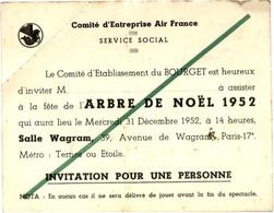 AIR FRANCE - Comité D'Établissement Du BOURGET - Invitation Arbre De NOËL 1952 - Luchtvaart