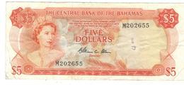 Bahamas 5 Dollars L.1974 , VF. P-37b. - Bahamas
