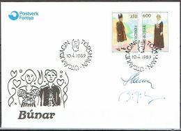 Czeslaw Slania.Faroe Islands 1989. NORDEN. Folk Costumes. Michel 182-83 FDC  Signed. - Féroé (Iles)