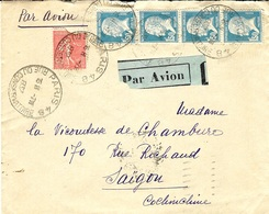 1937- Enveloppe PAR AVION De Paris -48 Pour Saïgon Affr. Bande De 4 Pasteur 1,50  + 50 C Semeuse - Storia Postale