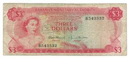 Bahamas 3 Dollars (1968) , VG/F, See Scan. - Bahamas