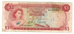 Bahamas 3 Dollars (1965) , VG/F, See Scan. - Bahamas