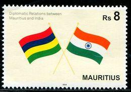 XE0871 Mauritius 2018 And Indian Friendly Flag 1V MNH - Mauritius (1968-...)