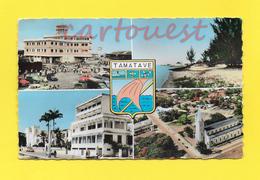 CPSM MADAGASCAR - TAMATAVE - Multivues - Port - Ecole St Joseph - Eglise Notre Dame De Lourdes - Madagascar