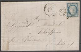 Yonne:  G.C.1527 Sur N°60C + CàD FLOGNY(83) Sur LAC De 1875 (origine CHARREY) - Postmark Collection (Covers)
