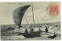 CPA CEYLON CEYLAN FISHING BOAT Carte Qui Se Decolle - Cartes Postales