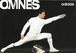 OMNES Philippe - Carte Postale éditée Par ADIDAS - Autographe Du Sportif Au Verso (Voir 2 SCANS). - Escrime