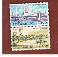 SAN MARINO - UNIF. 876.877 - 1973  VEDUTE DI NEW YORK (SERIE COMPLETA IN COPPIA SE-TENANT)    -  USATI (USED°) - Saint-Marin