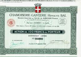 73-CHAMOISERIE-GANTERIE HIPPOLYTE BAL. CHAMBERY - Actions & Titres