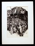 Mermeze Nóra (1938-): Kezdődik Az Előadás. Linó, Papír, Jelzett, 45×30 Cm - Ohne Zuordnung