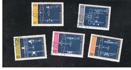 SAN MARINO - UNIF. 892.896 - 1973  AEREPLANI (DISEGNI COSTRUTTIVI) - SERIE COMPLETA DI 5   -  USATI (USED°) - Saint-Marin