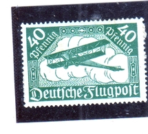 GERMANY GERMANIA GERMAN REICH EMPIRE IMPERO 1919 AIR MAIL POSTA AEREA BIPLANE BIPLANO 40pf MH - Luftpost