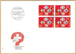 FDC BLOC DE 4 1990 C/DES TIMBRES SUISSES Nr:805. Y&TELLIER Nr:1363. MICHEL Nr:1435. - FDC