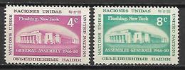 NATIONS - UNIES    -    1959 .  Y&T N° 66 / 67 ** .  Bâtiment à Flushing Mesdows, New-York. - New York -  VN Hauptquartier