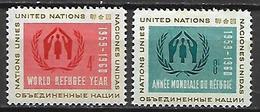 NATIONS - UNIES    -    1959 .  Y&T N° 72 / 73 ** .  Année Du Réfugié - New York -  VN Hauptquartier