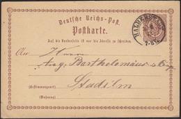 DR GS Karte Halberstadt N. Stadtilm 1873 Nv.Altdeuschland Stempel (13461 - Briefmarken