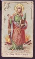 S. Agata V E M, Vecchio Santino  Con Preghiera (piega Centrale) - Religion &  Esoterik