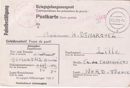 PRISONNIER DE GUERRE 40 45 CARTE ACCUSE RECEP COLIS OFLAG VIIIFVERS LILLE - Militaria