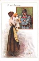 """""""Un Gros Bécot Pour """" Armée Suisse - Militaires - Militaria - Militär - Départ Du Soldat.- Peinture R. Deleysin - Suisse"""