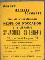 Paris Rue Saint Jacques : Buvard Double LIBRAIRIE ST JACQUES ST GERMAIN (lettrage Noir) (PPP9402) - Papeterie