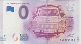 Billet Touristique 0 Euro Souvenir Allemagne 30 Jahre Mauerfall 2018-2 N°XECD001152 - EURO