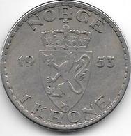 Norway 1 Kroner  1953   Km 397.2  Vf+ - Norvège
