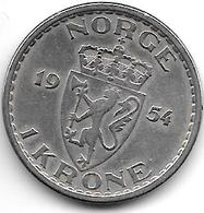 *norway 1 Kroner  1954   Km 397.2  Vf+ - Norvège