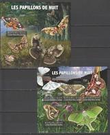 QQ620 2015 CENTRAL AFRICA FAUNA NIGHT BUTTERFLIES LES PAPILLONS DE NUIT KB+BL MNH - Vlinders